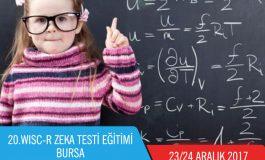 20.WISC-R Zeka Testi Eğitimi – BURSA (23/24 Aralık 2017)